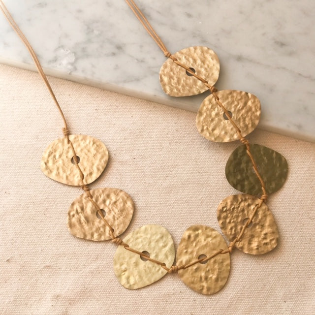 Hammered Oval Brass Necklace