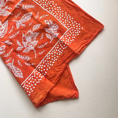 Floral Bandanna in Burnt Orange