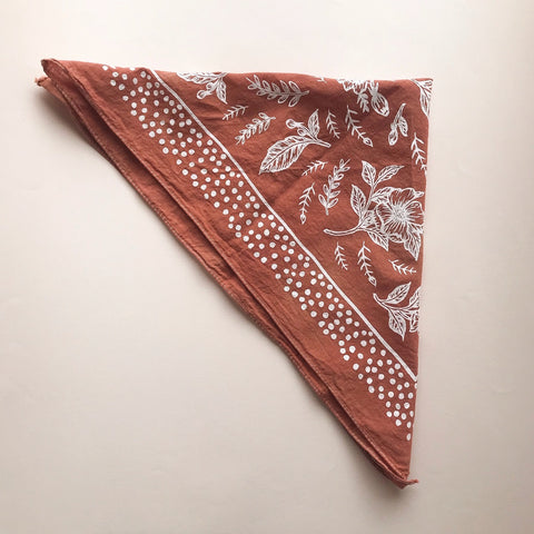 Floral Bandanna in Teracotta