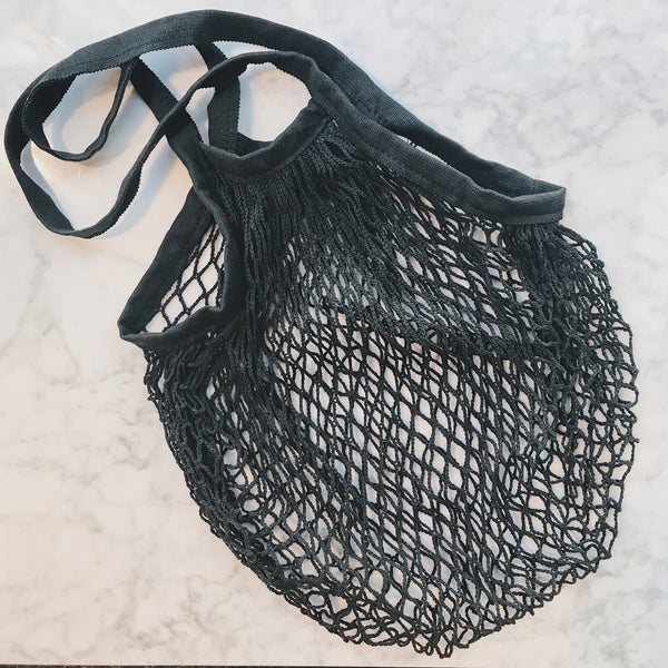 Black Cotton Net Market Bag