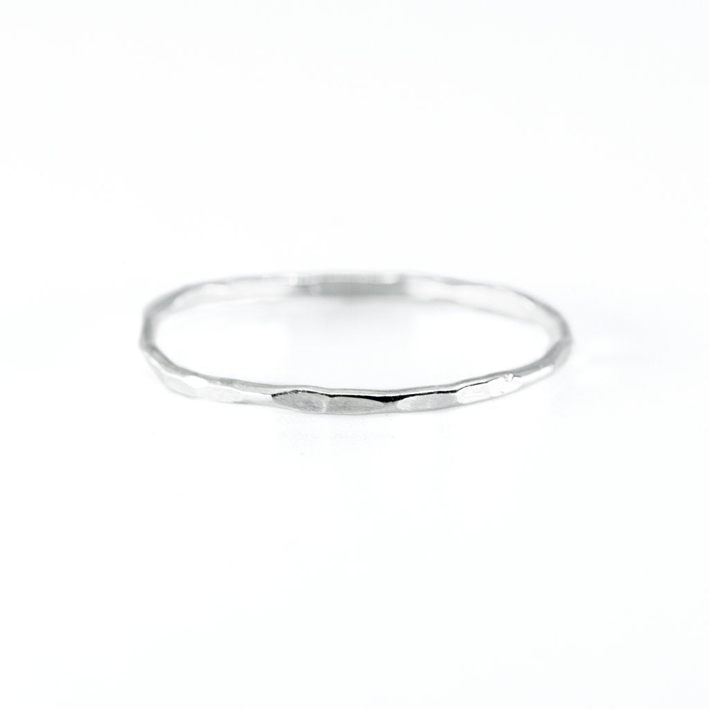 Silver Hammered Stacking Ring