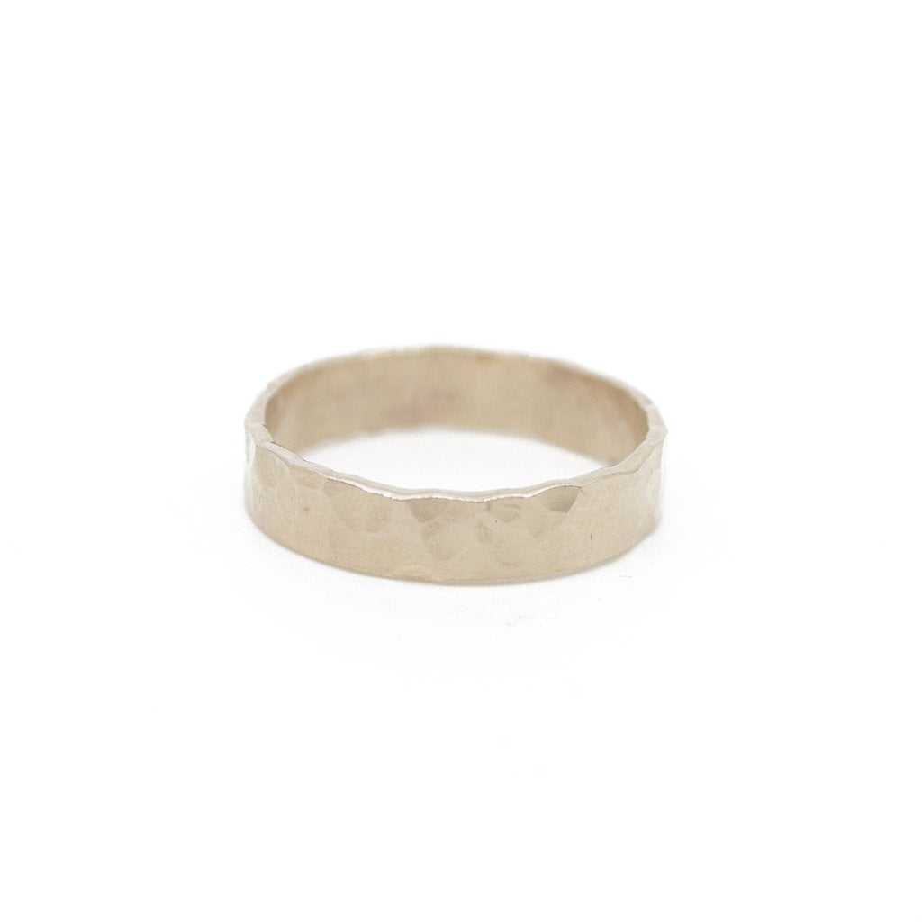 Ultra Thick Gold Hammered Stacking Band