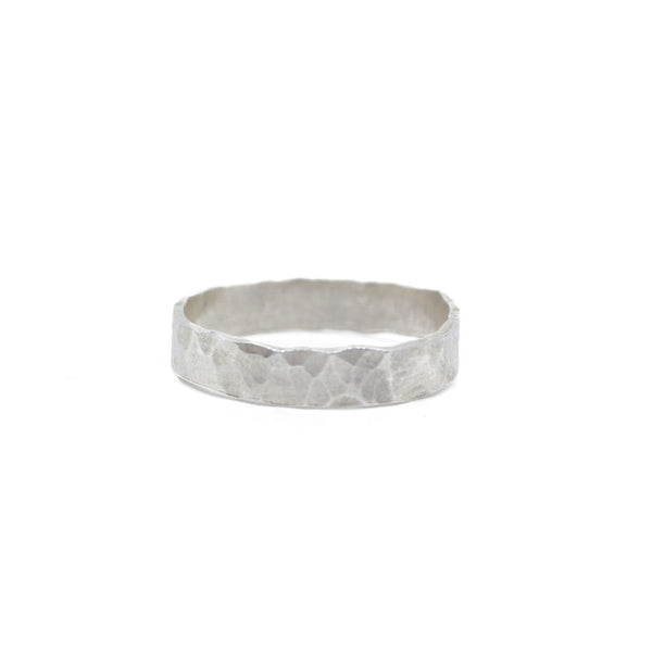 Ultra Thick Silver Hammered Stacking Band