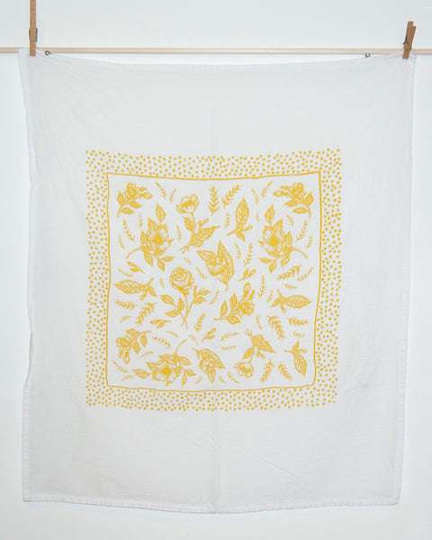 Floral Tea Towel in Mustard