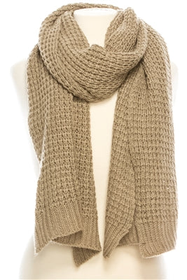 Chunky Knit Taupe Scarf