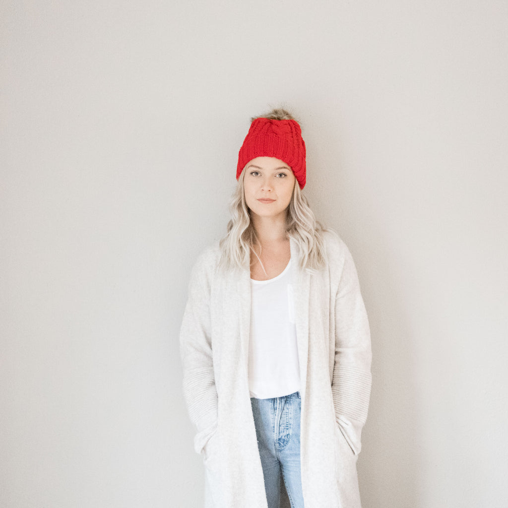 Fur Pom Pom Hat in Red