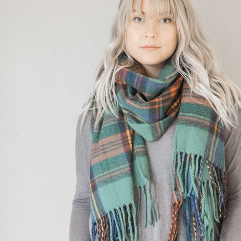 Green Plaid Fringe Scarf