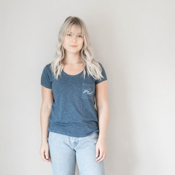 Stay Wild Slub Tee in Mineral Blue