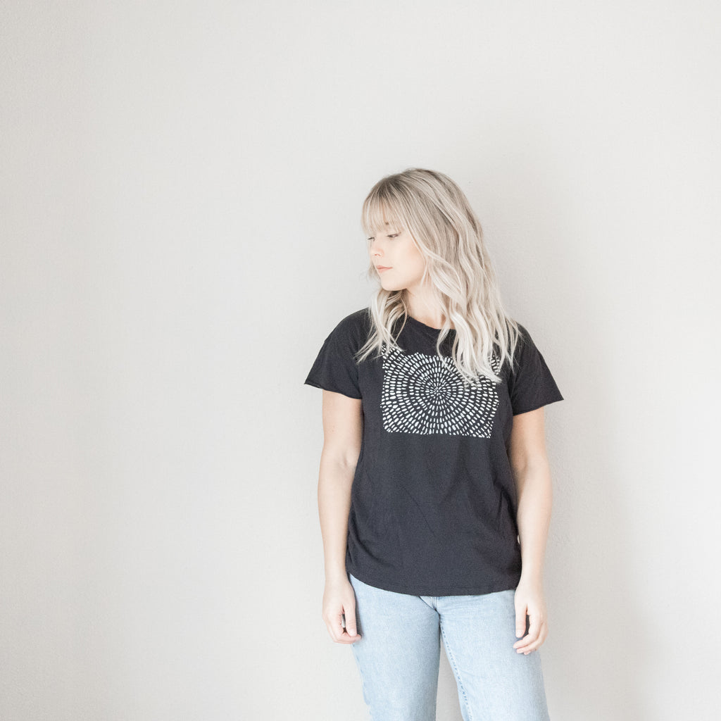 Dot Oregon Vintage Distressed Tee in Black