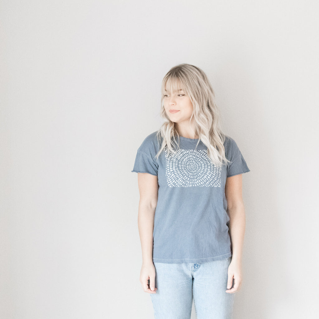 Dot Oregon Vintage Distressed Tee in Pool