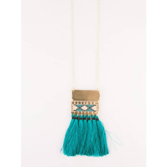 Boho Teal Tassel Necklace