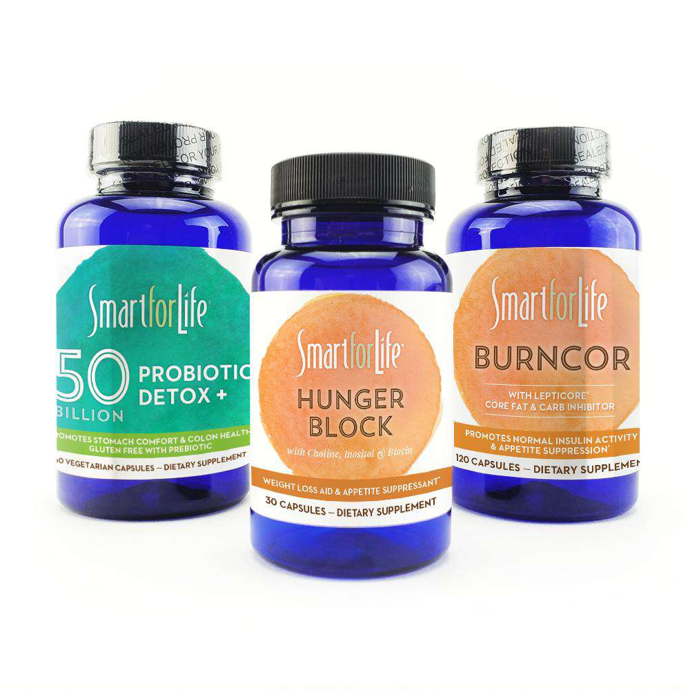 Weight Loss Supplements Bundle [Hunger Block, BurnCor, & Probiotic] 210 CT.