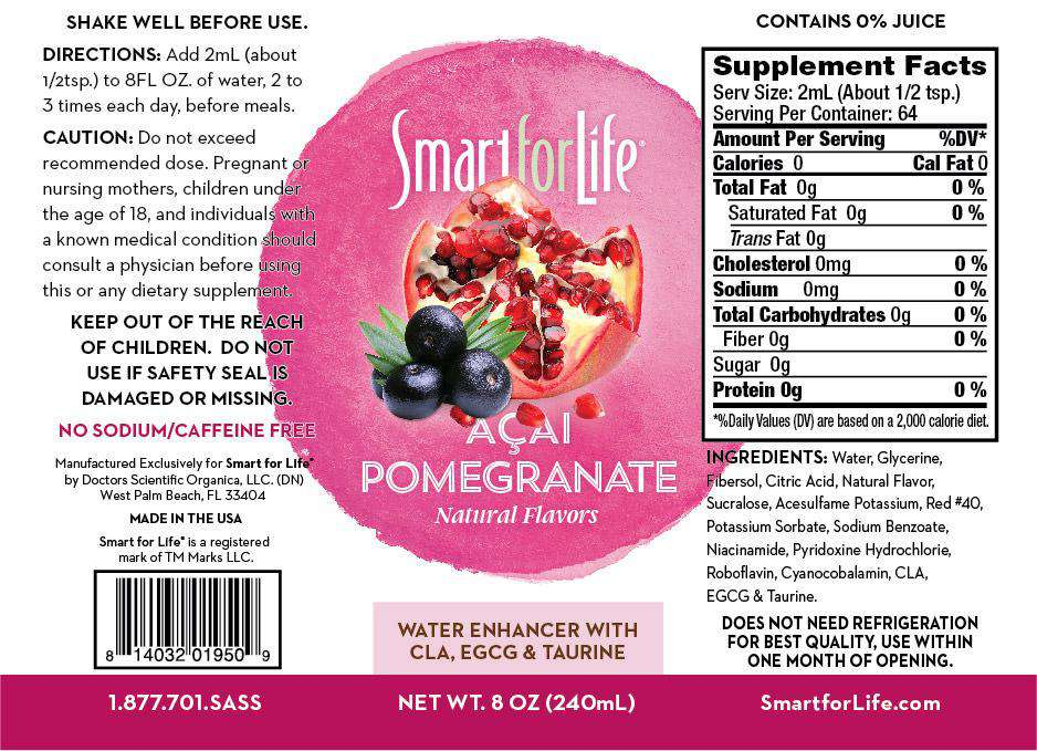 Zero Sugar Açai-Pomegranate Water Enhancer (Large Bottle) - Smart for Life Cookie Diet