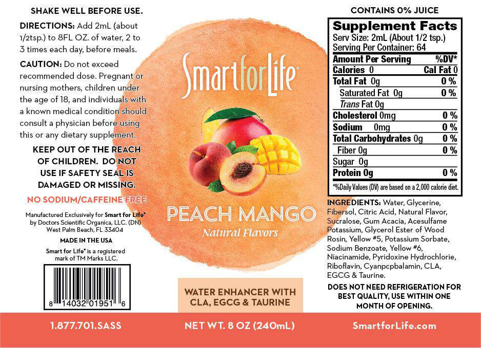 Zero Sugar Peach Mango Water Enhancer (Large Bottle) - Smart for Life Cookie Diet