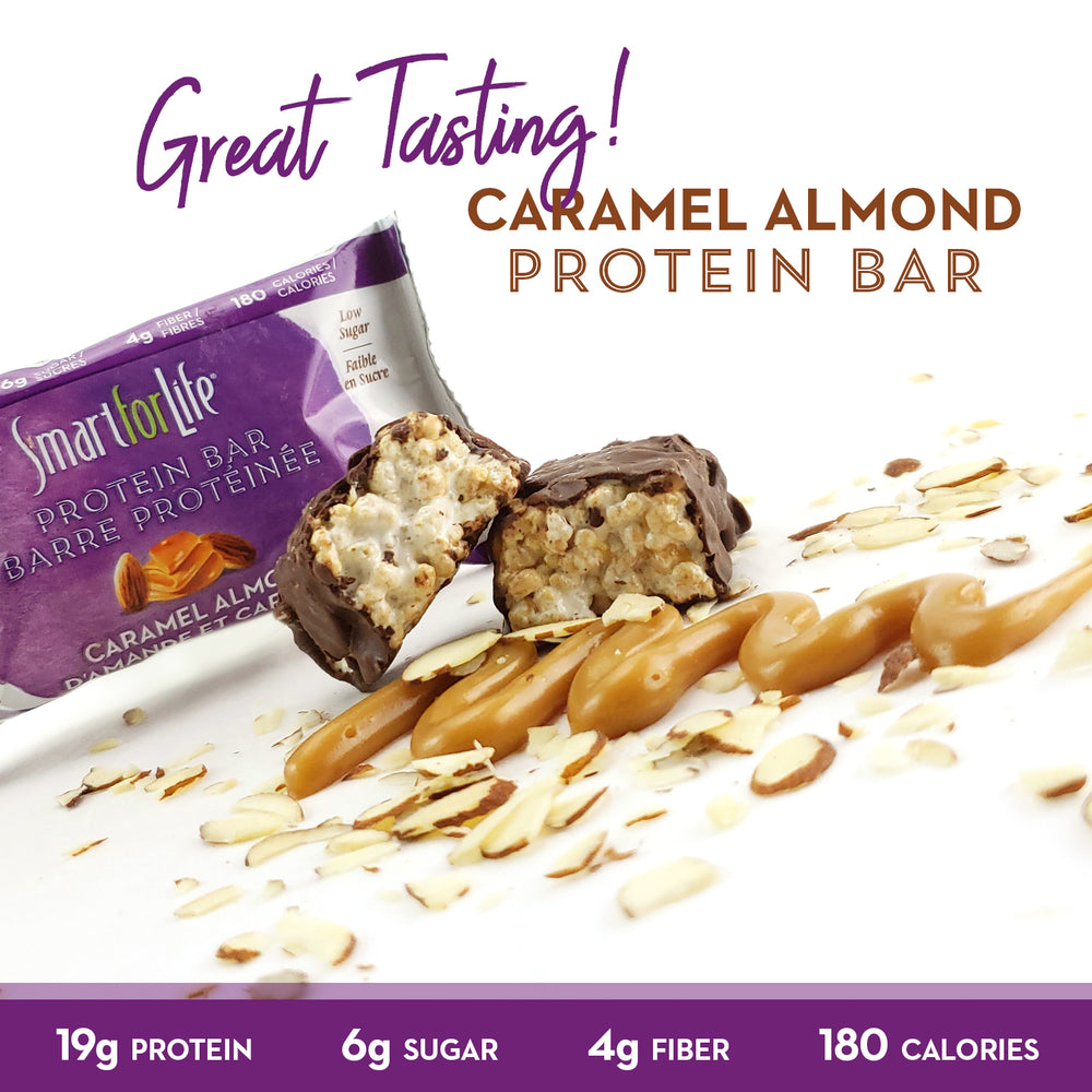 Low Sugar Caramel Almond Protein Bars