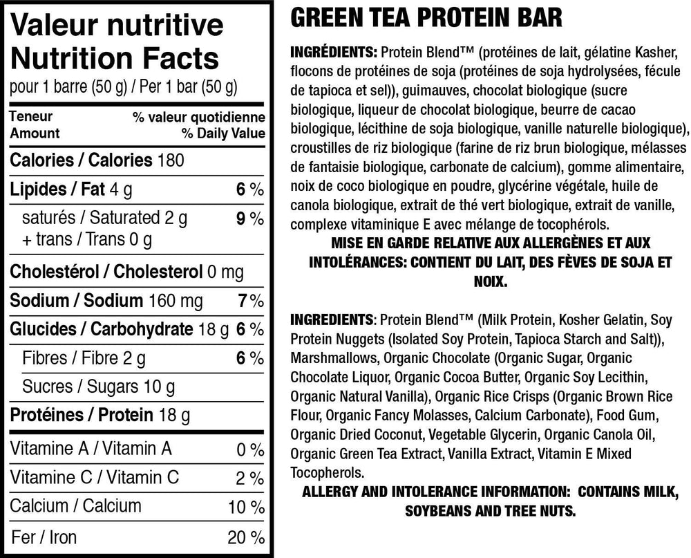 Green Tea Protein Bars - Smart for Life Cookie Diet