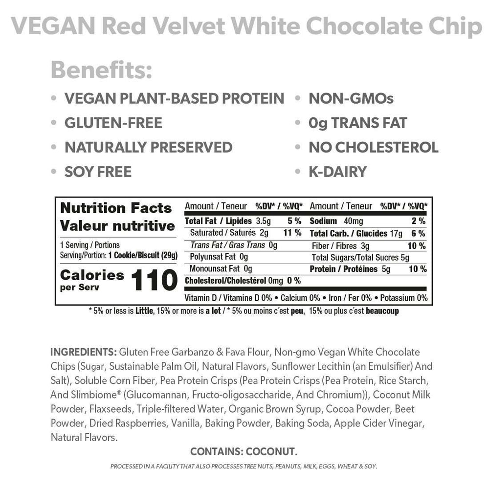 VEGAN Red Velvet White Chocolate Chip Cookies - Smart for Life