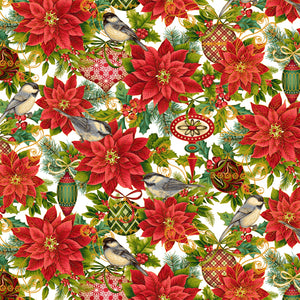 Christmas Joy Cream Christmas Poinsettia w/Metallic Fabric