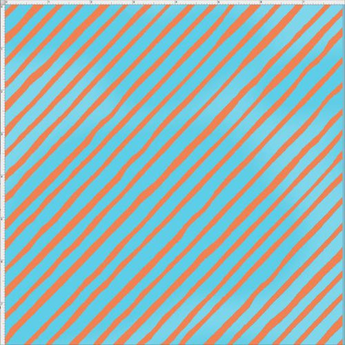 Bias Stripe Turquoise/Orange