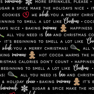 We Whisk You a Merry Christmas Black Holiday Baking Phrases Fabric