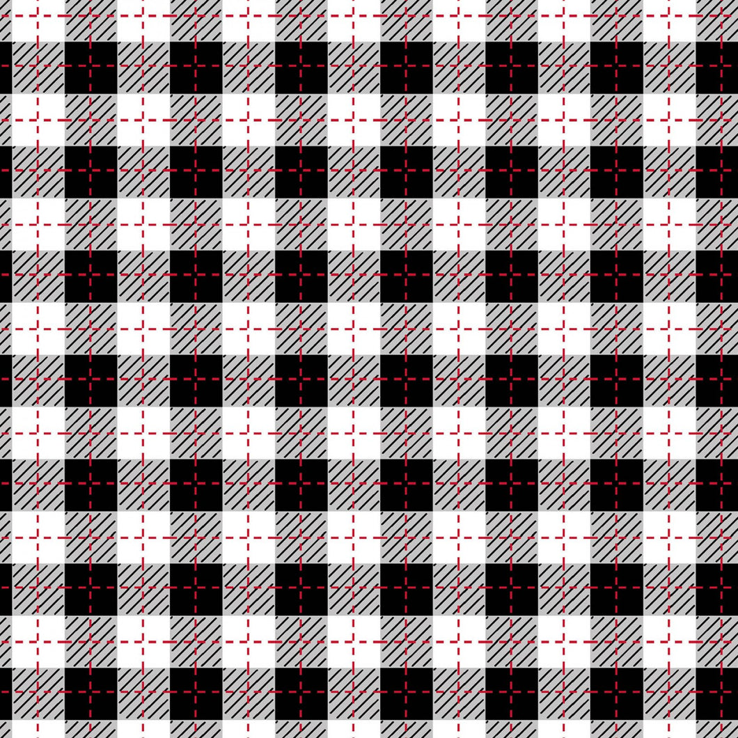 We Whisk You a Merry Christmas Black/Ultra White Buffalo Plaid Fabric