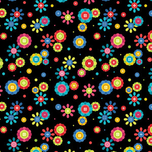 Black Cute As A Button fabric from Kanvas by Benartex Sew Excited Collection