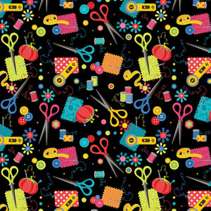 Black Sewing Notions fabric from Kanvas by Benartex Sew Excited Collection