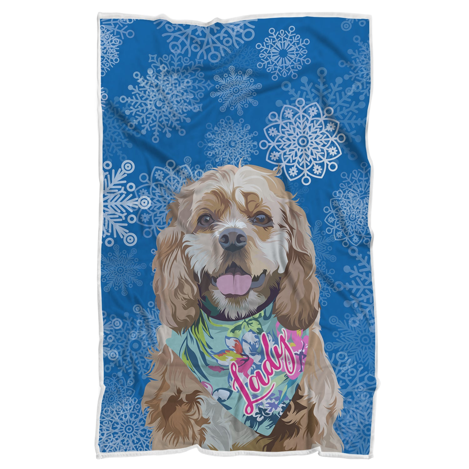 Custom Pup Christmas Themed Blanket - Blue Selection