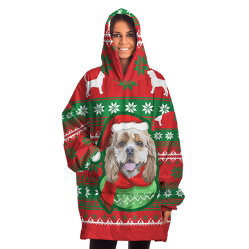 Custom Snug Christmas Themed Hoodie - Upload Your Dog's Photo