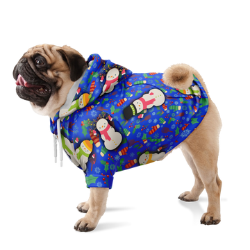 Custom Matching Dog Zip Up Hoodie - Snowman Theme