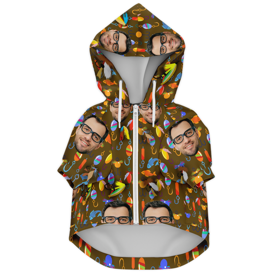 Custom Matching Dog Zip Up Hoodie - Fishing Theme