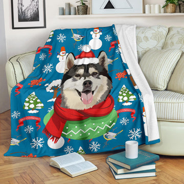 Custom Dog Christmas Blanket - Snowman Wishes You a Merry Christmas