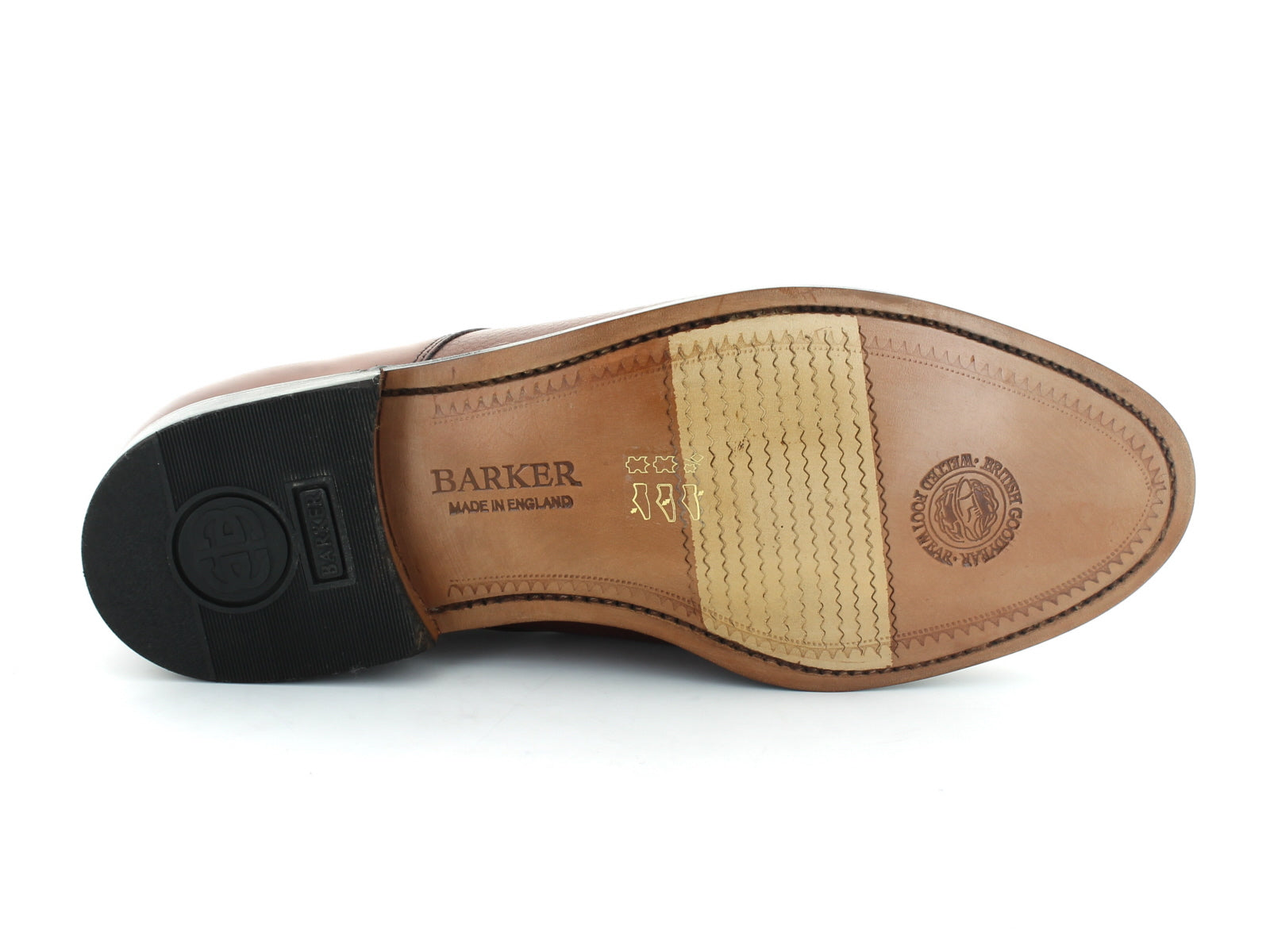 Barker Staines in Rosewood Leather sole view