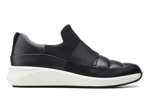 Clarks Un Rio Lo in Black Leather outer view
