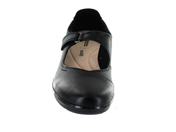 Clarks Hope Henley in Black Leather front  view