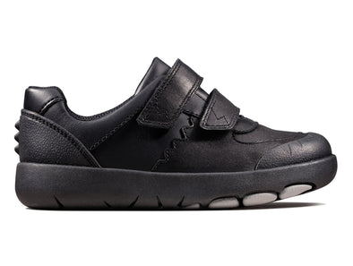 Clarks Rex Pace K Junior Black outer view