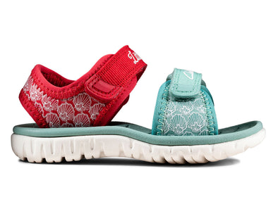 Clarks Surfing Sea T  in Red Interest outer view