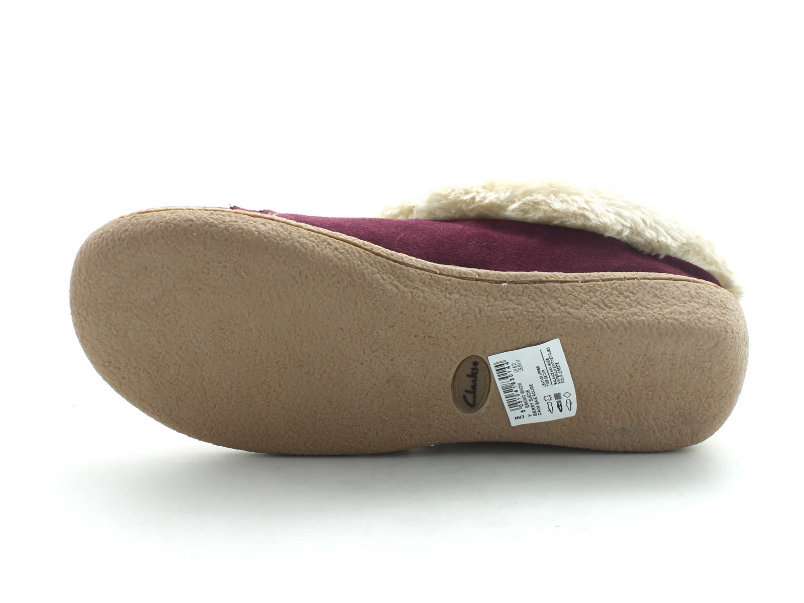Clarks Eskimo Snow in Berry Suede sole view