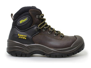 Gri Sport Contractor Steel Toe Safety Shoe in brown leather outer view