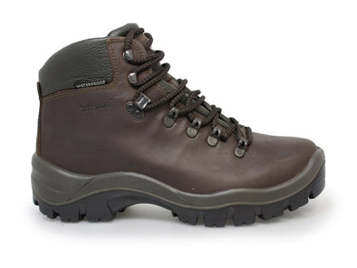 Gri Sport Peaklander Waterproof Hiking Boots in brown leather outer view