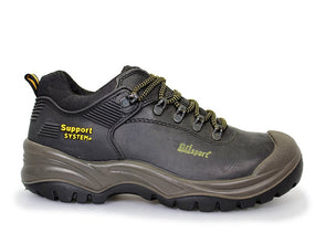 Gri Sport Worker Steel Toe Safety Shoe in black leather outer view