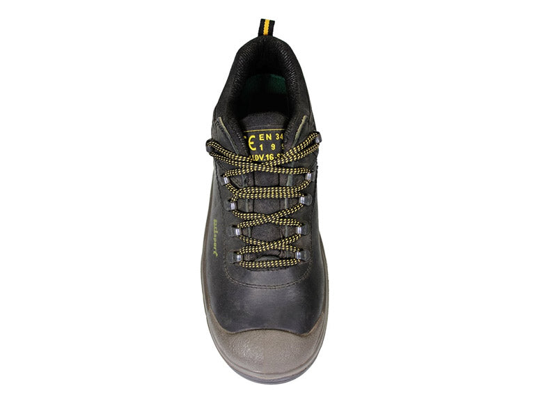 Gri Sport Worker Steel Toe Safety Shoe in black leather front view