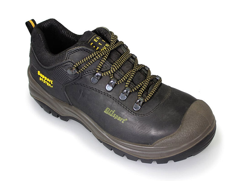 Gri Sport Worker Steel Toe Safety Shoe in black leather back view