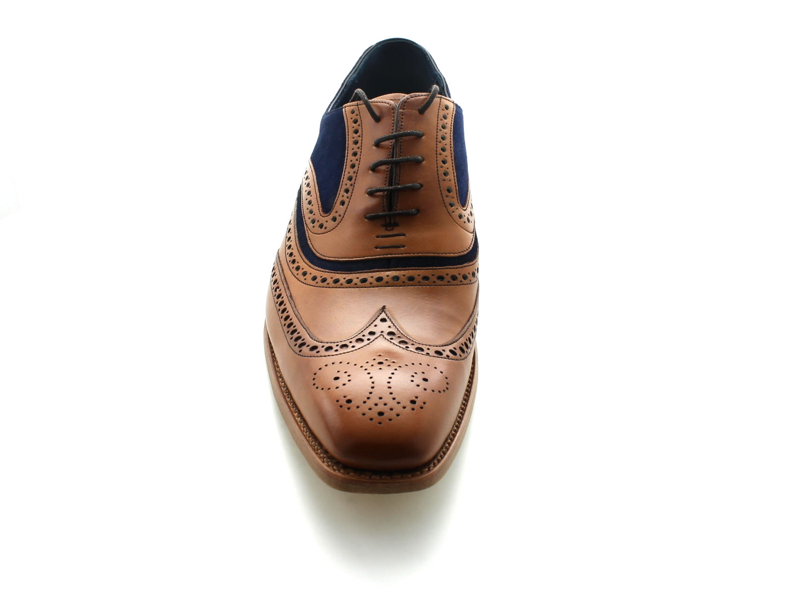 Barker Mc Clean in Cedar Calf and Navy Suede front view