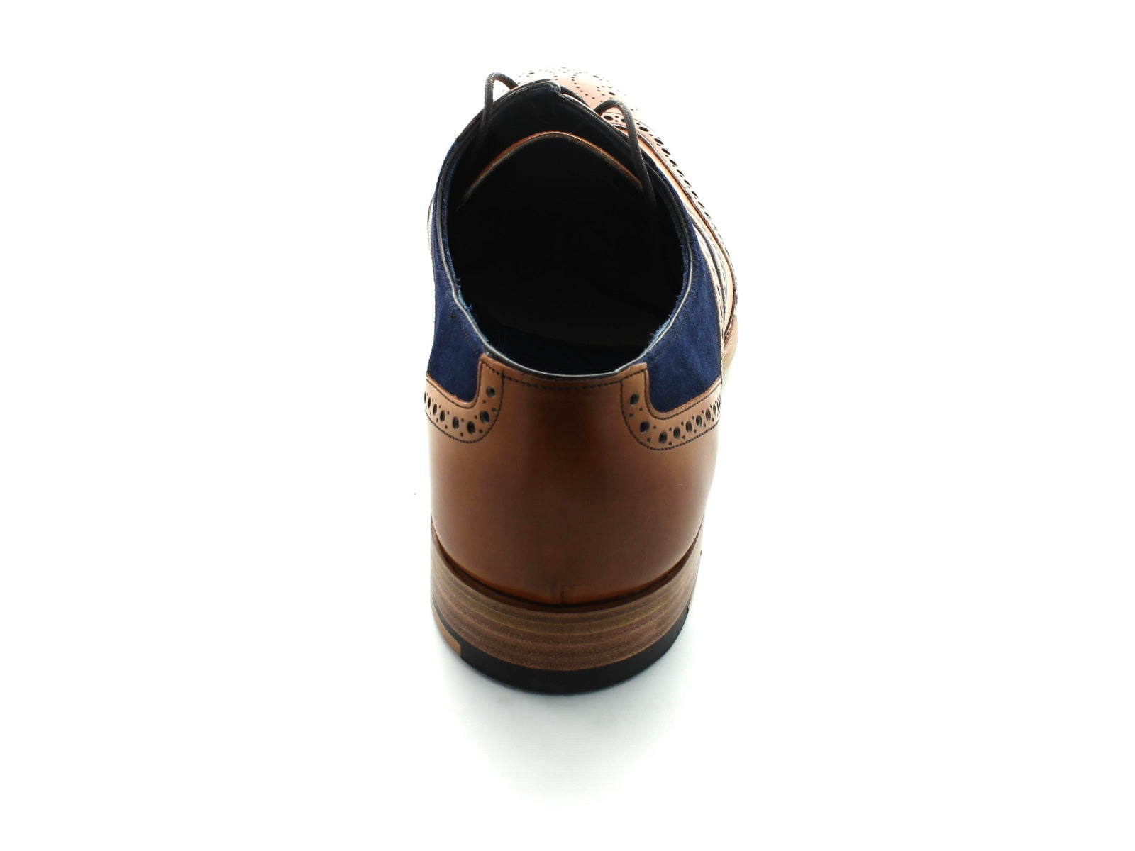 Barker Mc Clean in Cedar Calf and Navy Suede back view