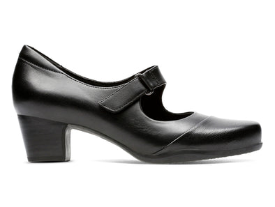 Clarks Rosayln Wren in Black Leather outer view