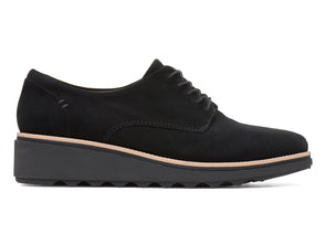Clarks Sharon Noel in Black Nubuck Outer view
