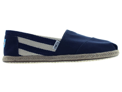 Toms Navy Stripe Canvas 10005419 in Navy outer view