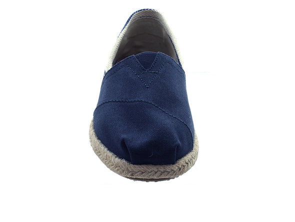 Toms Navy Stripe Canvas 10005419 in Navy front view