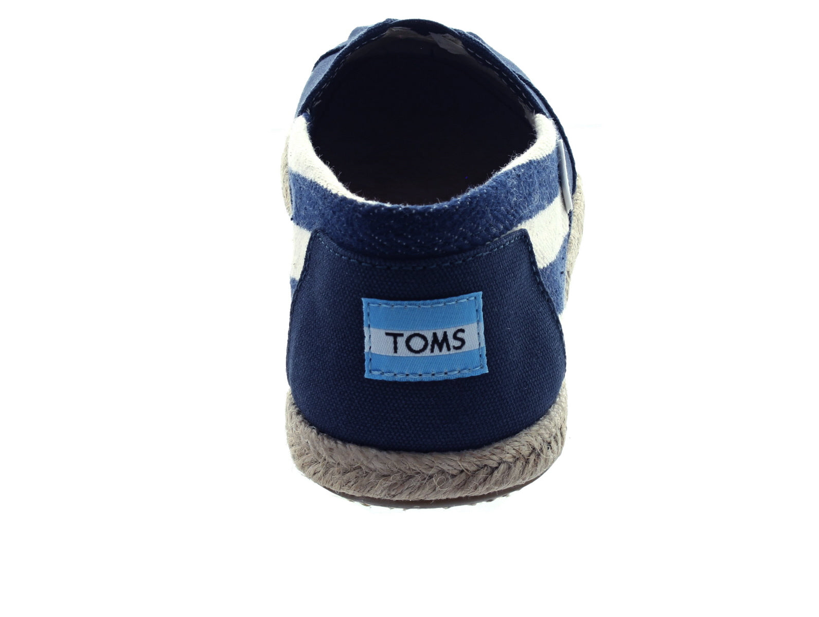 Toms Navy Stripe Canvas 10005419 in Navy back view